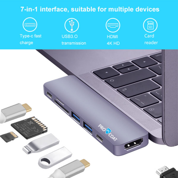 PROCOAT 7 IN 2 USB C HUB FOR MAC T08-380