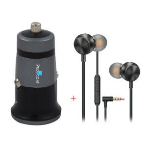 Procoat S-136 Micro Car Charger + Procoat Pro-201 Magic Bass Headphone-0